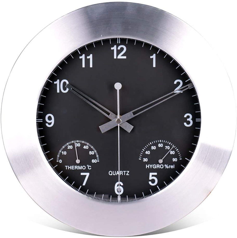 12 inch Metal Clocks Modern Simple Clock Silence Hanging Table Living Room Creative Quartz Temperature Hygrometer Wall Clock