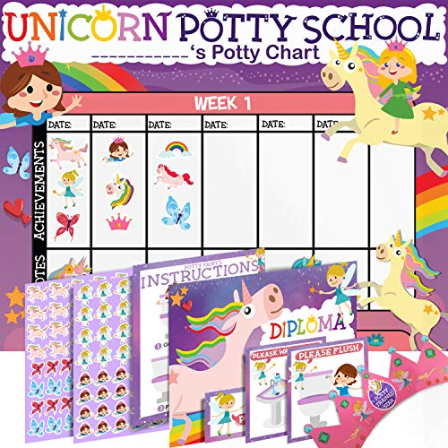 Potty Training Chart for Toddlers Girls, Unicorn Design - Sticker Chart, 4 Week Reward Chart - 175 Cute Stickers, Certificate, Instruction Booklet & Motivational Cards - Bonus Celebratory Crown
