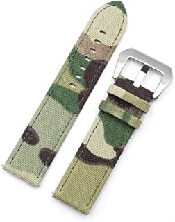 20mm 22mm Camo Canvas Quick Release Watch Band Strap, Cordura Canvas Ballistic Nylon Military Style Watch Strap with Camouflage Pattern for Men