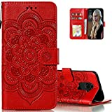 LEMAXELERS for Redmi Note 9 Case Flip Premium Wallet Phone Case PU Leather Mandala Embossed Shockproof Cover with Kickstand Card Holder Cover for Xiaomi Redmi Note 9 / Redmi 10X 4G Mandala Red LD