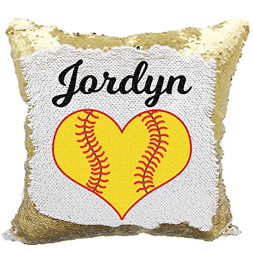 Softball Heart Girls Personalized Mermaid Reversible Sequin Pillow (Gold/White)