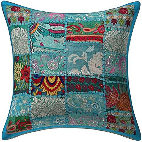 Funda de cojín de algodón étnico para sofá de color turquesa con diseño geométrico geométrico para Settee Vintage Khambadi Patchwork decoración del hogar 45,7 x 45,7 cm