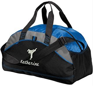 Personalized Karate Taekwondo Duffel Gym Bag For Girls - Embroidered (Royal Blue)