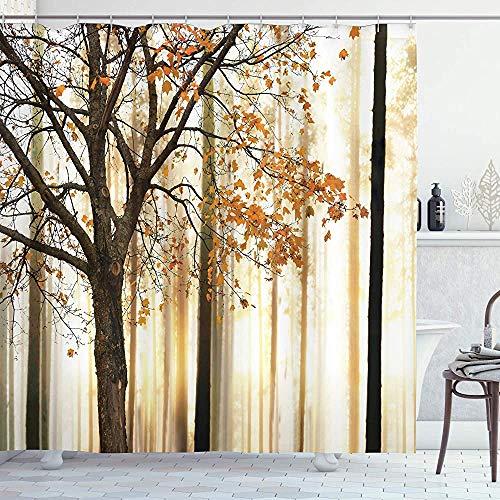 Herfst douchegordijn foto van een eenzame boom met oranje bladeren op een Abstract bos achtergrond doek stof badkamer Decor Set met haken bruin Beige 66 * 72in