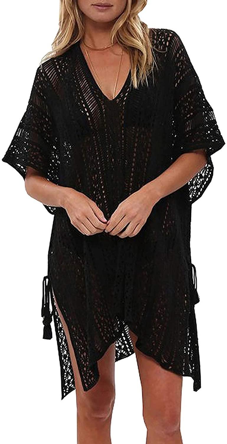 shermie Swimsuit Cover ups for Women V Neck Loose Beach Bikini Bathing Suit Cover up