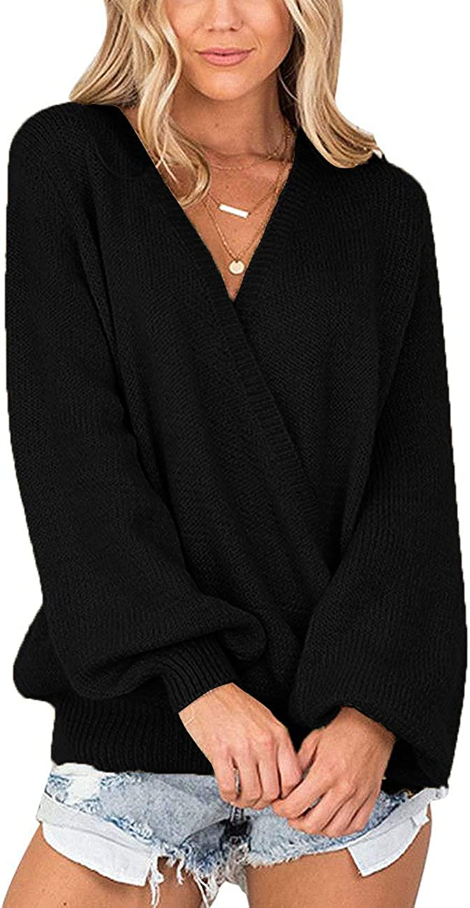 Chigant Knit Pullover Sweater Women Deep V Neck Loose Fit Wrap Long Sleeve Oversized Jumper Tops S-XXL
