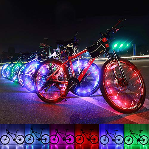 Lyfreen 2Pack Bike Wheel Lights with Batteries, Waterproof Spokes Light Bicycle Rim Tire Light Lightweight Bicycle Light Strip Bicycle Safety Warning Decoration Light