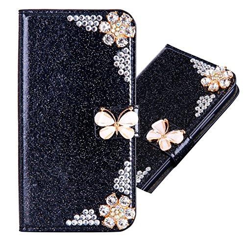Kartenfach Leder für Huawei P30 Lite,Magnetverschluss Diamant Butterfly Funkeln Bling Glitzer BookStyle Slim Ledertasche Schutzhülle Flip Folio Wallet Stand Card Slots Pocket Etui Hülle