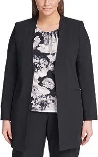 Womens Plus Open Front Professional Topper Jacket Black 24W