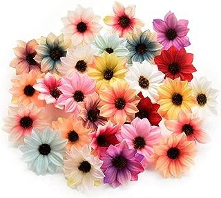 Fake flower heads in bulk wholesale for Crafts Silk Sunflower Daisy Handmake Artificial Flower Head Wedding Decoration DIY Wreath Gift Box Scrapbooking Craft Home Decor 80pcs 5.5cm (Colorful)
