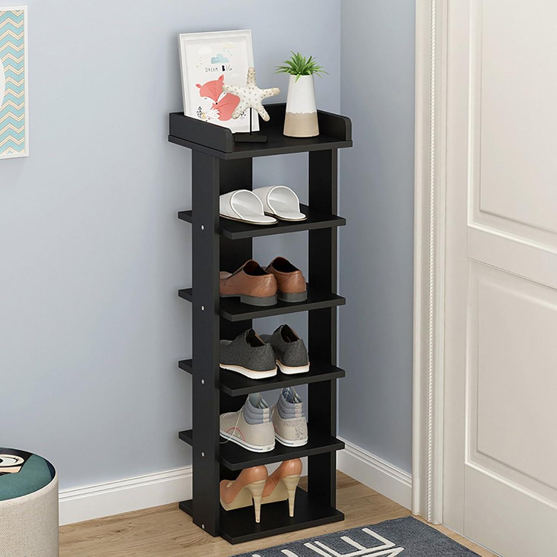 Black shoes Rack,Multi-Layer Simple shoes Cabinet,Modern Assembly Locker Dust-Proof Storage shoes Shelf (color   6 Tier)
