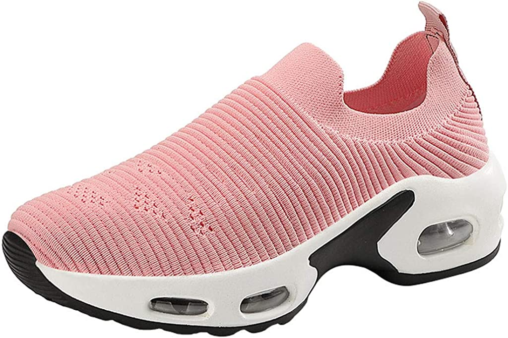 Ezeerae Platform Sneakers for Women Arch Protection Sneakers Stretch Walking Shoes Round Head Mesh Platform Loafers