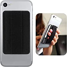 Premium Card Holder Stick on Wallet Works for ARCHOS 101 XS with Room for 3 Cards & Secure Carry Strap (Black)