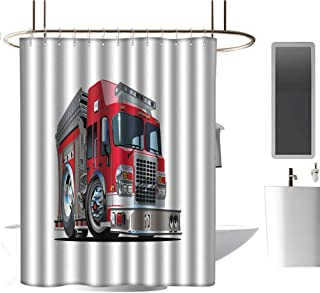 TimBeve Shower Curtain Liner Truck,Cartoon Style Red Fire Truck Emergency Services Safety of The City Transportation,Red Pale Grey,Metal Rust Proof Grommets Bathroom Curtain 72