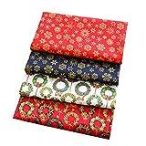 Nicole Knupfer - 5 piezas de tela de patchwork de Navidad para costura, tela de retales de algodón, paquete de tela DIY de algodón (4#-4 unidades, 25 x 25 cm)