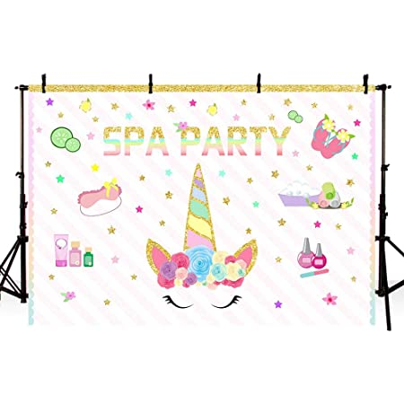 Renaiss 12x10ft Happy Birthday Backdrop Gold Glitter Unicorn Mermaid Princess Rainbow Sparkling Stars Photography Background Kids Birthday Party Supplies Banner Decoration Cake Table Photo Booth Props
