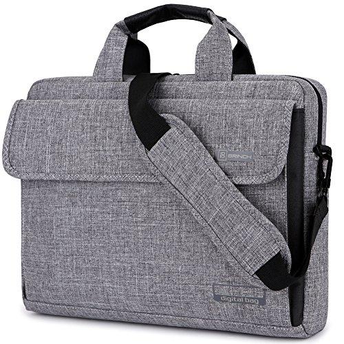 BRINCH Laptop Tasche Aktentasche Herren Laptoptasche 15.6 Zoll Leicht Schultertasche Damen Nylon Messenger Bag kompatibel mit Notebook für Business, Arbeit, Wochenende, Grau