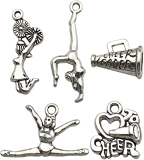 50pcs Craft Supplies Antique Silver Cheerleader Girl Dance School Sports Spirit Gymnastics Charms Pendants Crafting, Jewelry Findings Making Accessory DIY Necklace Bracelet M163