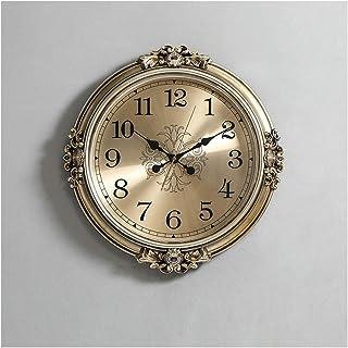 Wall Clock Non-Ticking Wall Clock النمط الأوروبي ساعة فاخرة غرفة المعيشة الحديثة ساعة حائط كبيرة منحوتة على مدار الساعة ال...