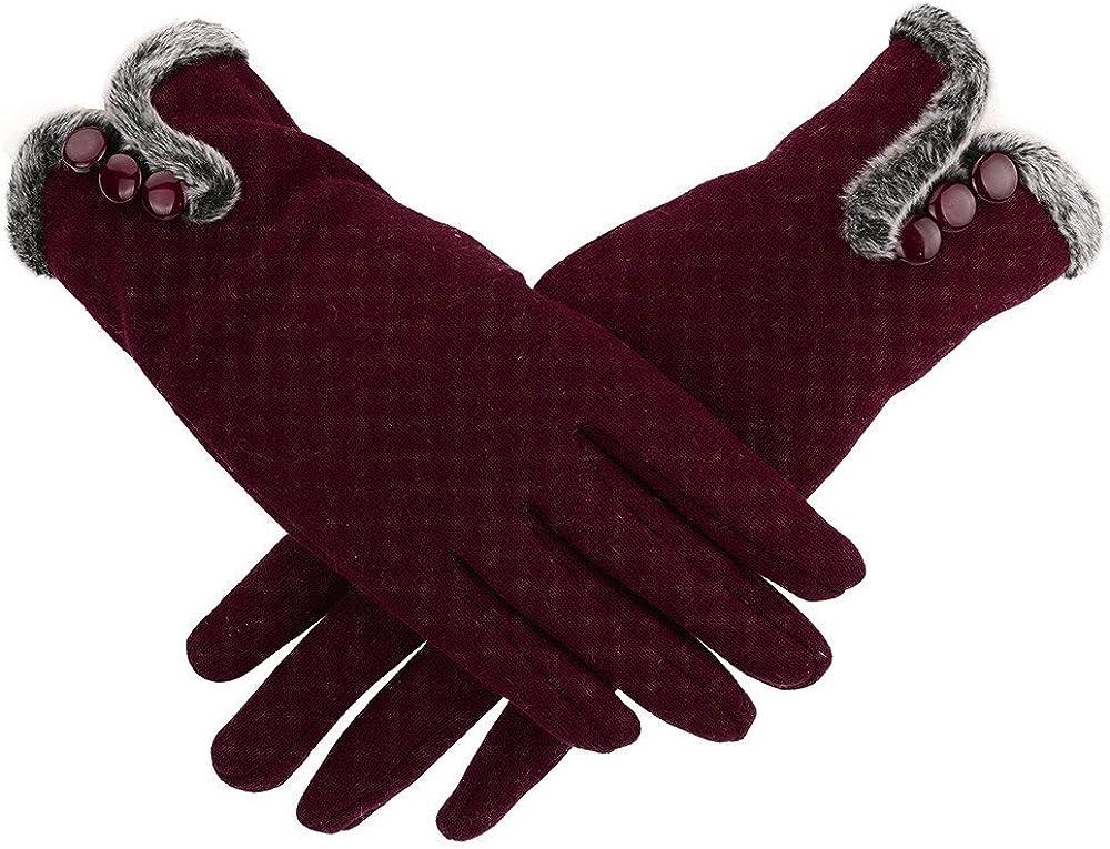 Women Winter Warm Gloves Fleece Lined Windproof Gloves Touch Screen Gloves Driving Gloves for Women Girls