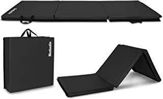 Matladin 6' Folding Tri-fold Gymnastics Gym Exercise Aerobics Mat, 6ft x 2ft x 2in PU Leather Tumbling Mats for Stretching Yoga Cheerleading Martial Arts