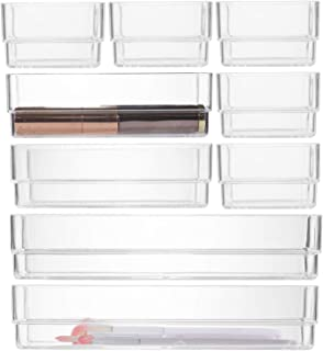 "Houseables Drawer Organizer, Bathroom Storage, 3"" x 2"", 6"" x 2"", 9"" x 2"", 9 Pack, Clear, Various Sizes, Plastic, Dividers,..."