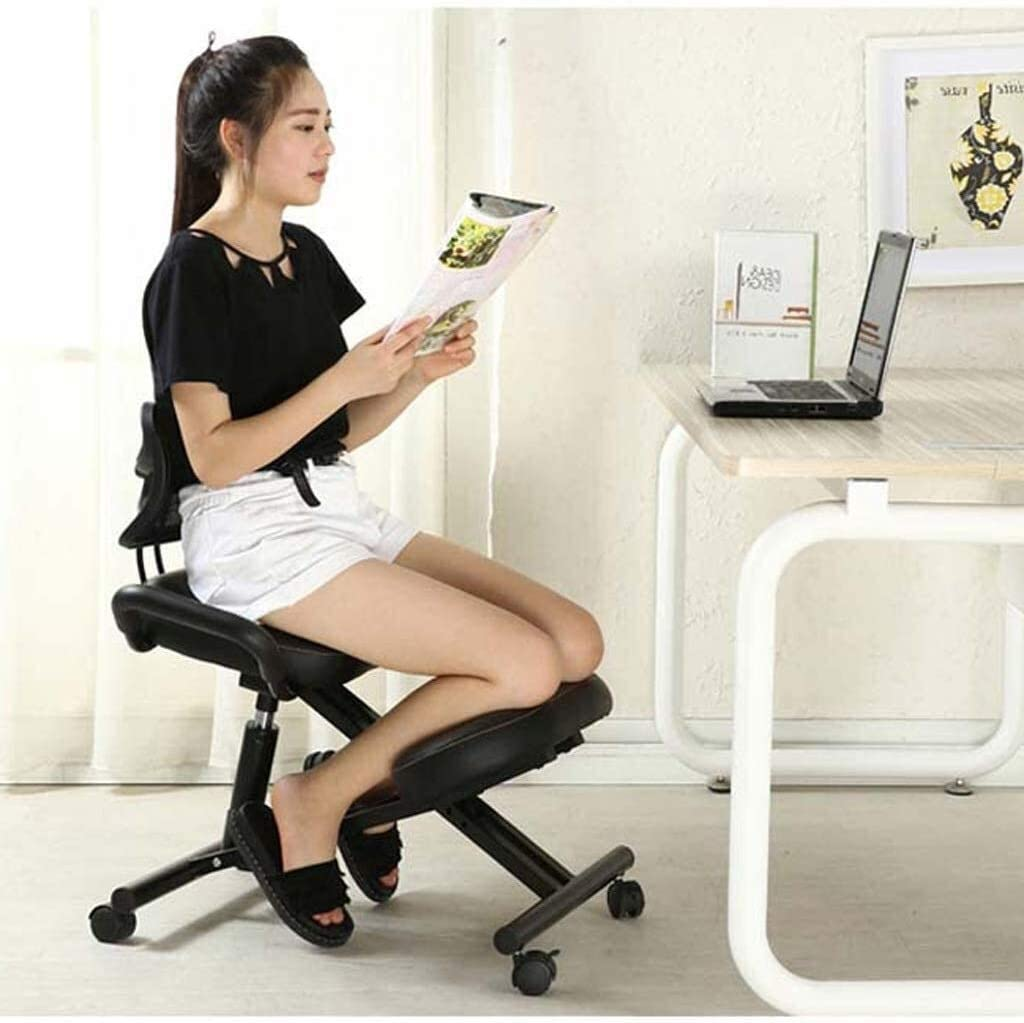 HUXIUPING Genoux Chaise de Bureau Chaise Ergonomie Ordinateur Président Intérieur Tilt Seat Correction Posture (Color : Blue) Black