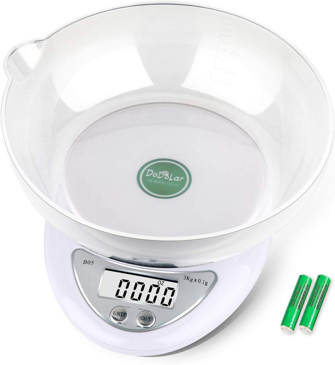 Báscula Digital de Cocina Exquisit Báscula electrónica de Alta precisión con Recipiente para Alimentos, Pantalla LCD, Apagado automático, batería incluida, Digitale Küchenwaage