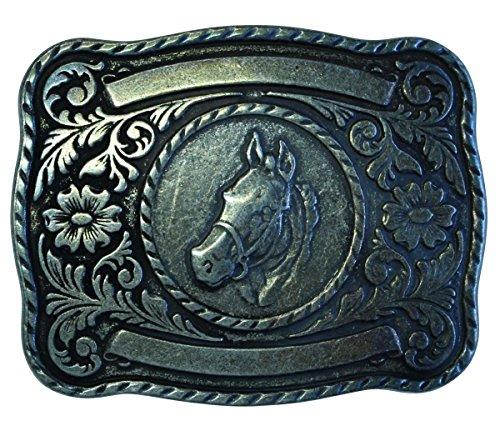 Brazil Lederwaren Gürtelschnalle Pferd mit Umrahmung 4,0 cm | Buckle Wechselschließe Gürtelschließe Reitaccessoires 40mm Massiv | für Reit-Outfit | Altmessing