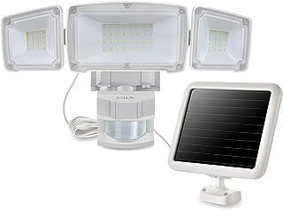 1500LM LED Luz Solar de Seguridad de Sensor de Movimiento con 3 cabezales de luz ajustables, 5000K, Impermeable IP65, Perfecto para el Uso al Aire Libre como Entradas, Patios, Garajes, etc.