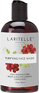 Laritelle Organic Face Wash-Purifying, Moisturizing and Skin Softening, Hibiscus, Chamomile and Palmarosa, No Sulfates, Gluten, Alcohol, Parabens, Phthalates, GMO-Fre, Mild and Gentle, 5.5 pH, 4 oz