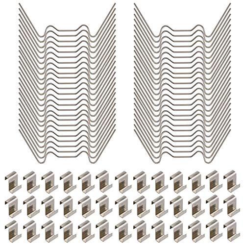 Gewächshaus-set, Edelstahl-Gewächshaus-Glasscheiben-Befestigungsclips inklusive 50 Stück Verglasungsclips mit Drahtclips und 50 Stück Z-Überlappungs-Clips.