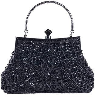 Fine Bag/Women Clutches Beading Evening Bag Clutch Purse Bags Special Occasion Evening Handbags Banquet Bag (Color : Black, Size : One Size)