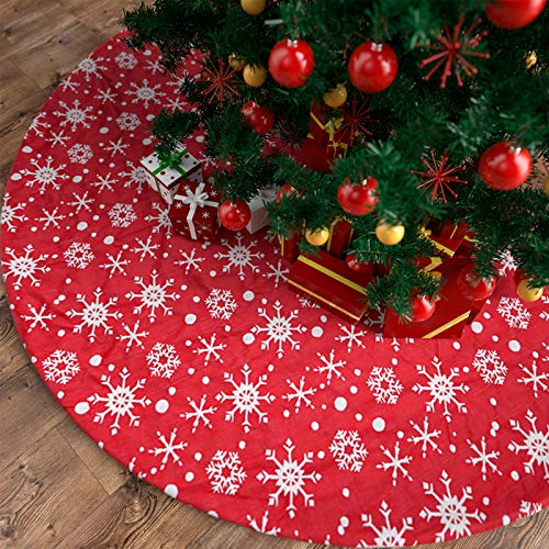 COOLWUFAN 48 Inches Christmas Tree Skirt Red, White Snowflake Christmas Tree Mats for Xmas Tree Holiday Party Decorations(Red+White)