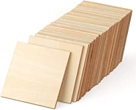 ilauke Unfinished Wood Pieces 50 Pcs 4 Inch Square Blank Wood Natural Slices Wooden Squares Cutouts for DIY Crafts Painting Staining Burning Coasters