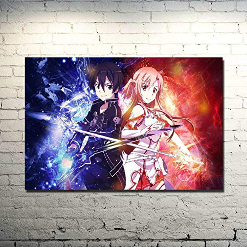 dianshangpuzi Sword Art Online 2 Kirito Asuna Poster Print Art Poster Print Anime Pictures For Bedroom Living Room Decor Frameless Painting A36 50X70Cm