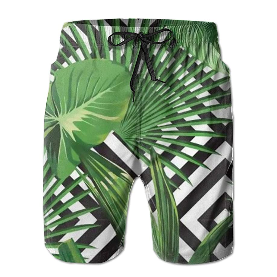 balloon heart Tropical Green Palm Leaves Mens Beach Shorts Swimming Trunks Quick-Dry Board Trunks with Mesh Lining