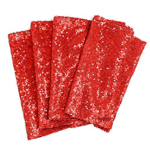 30X275cm Paillettes Chemin de Table à Sequins Paillettes Nappes Mariage Réception Noël Prom Décoration (Red)