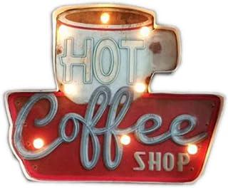 Décoration murale de café, panneau lumineux en métal, décoration murale vintage, style industriel, pour café, bar, café, r...