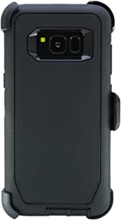 WallSkiN Turtle Series Cases for Samsung Galaxy S8 (Only) Tough Protection with Kickstand & Holster - Shadow (Black/Black)