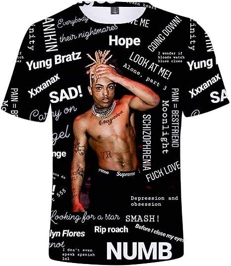 Noir Rappeur Xxxtentacion Imprimer T-Shirt /à Manches Courtes T-Shirt D/écontract/é Pour Hommes Et Femmes T-Shirt WSG l