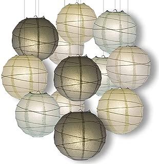 Quasimoon Paperlanternstore.com Wedding Party Pack Crisscross Ribbed Paper Lantern Combo Set (12 pc Set)
