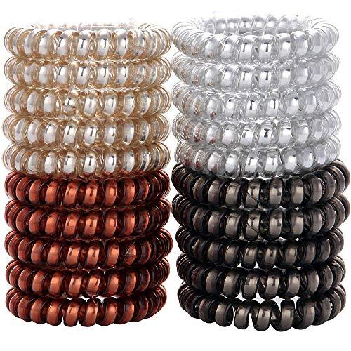 25 Stücke Spirale Haargummis Keine Falte Elastische Pferdeschwanz Inhaber Spule Haargummis Telefonkabel Traceless Haar Ring für Alle Haartypen (4 farben)