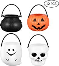 Cabilock Mini Halloween Candy Holder Multi-Purposed Novelty Balck Plastic Halloween Witches Cauldron Kettle Skull Pumpkin ...