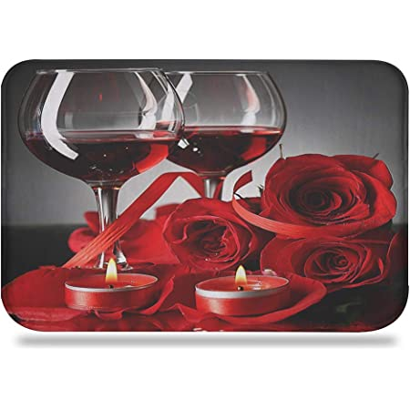 Colorful Star Roses Red Wine Memory Foam Bath Mat Machine Washable Non Slip Absorbent Flannel Bathroom Rug Small Romantic Carpet For Tub Shower Commode Doorway 24 L X 16 W Kitchen