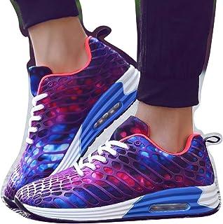 Williess Transpirable Zapatos Deportivos Pareja Zapatos de Mujer colchón de Aire de Malla de Camuflaje Zapatos Casuales Zapatos de Hombre (Color : Púrpura, Size : 43)