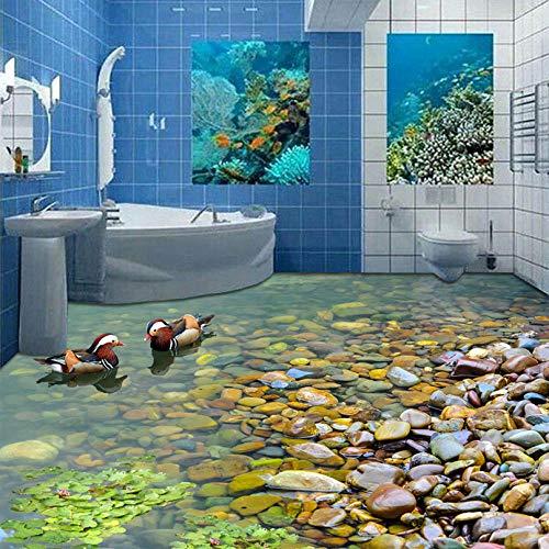 Benutzerdefinierte 3D-Bodentapete 3D-Badezimmeraufkleber Wasserdichte Selbstverwaltungs-PVC-Vinyl-3D-Bodentapete Hausdekoration 250x175cm