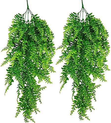 ASHINER Plantas Artificiales Colgantes Hiedra Verde Artificial Colgante del hogar decoración Pared para Interior y Exterior, Vid de imitación para Sala de Estar, seto y jardín, 2 Piezas