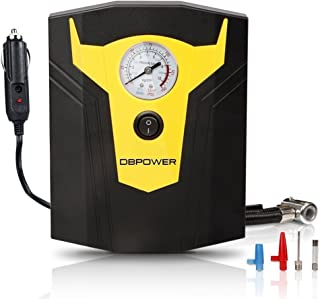 DBPOWER DC 12V Portable Tire Inflator with Pressure Gauge, Compact Air Compressor for Cars, Bicycles and Sport Balls