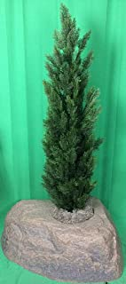 Artificial UV Rated Outdoor 5' Cedar Topiary Tree Bundled with Lg Rock Planter Cover, by Silk Tree Warehouse